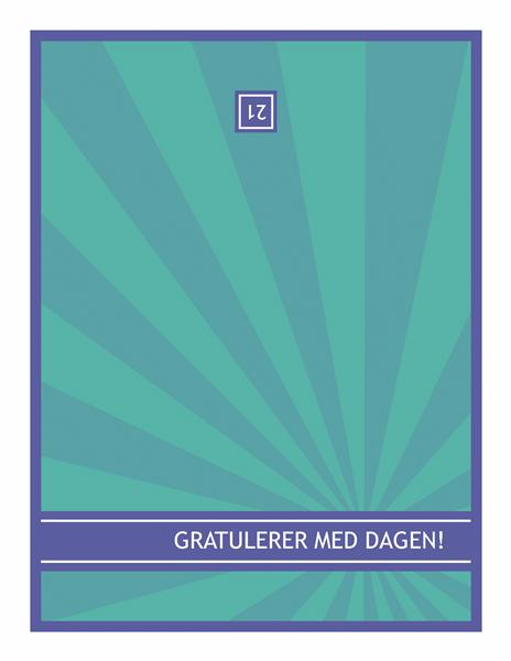 Bursdagskort for spesielle årsdager, blå stråler på grønn bakgrunn