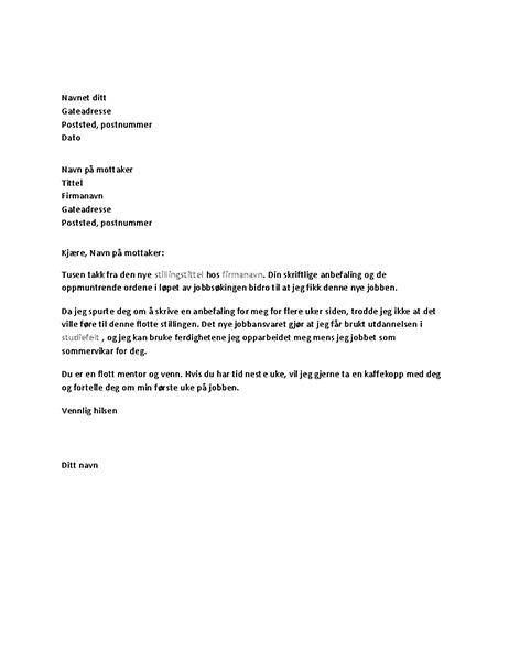 Takkebrev for vellykket jobbreferanse fra tidligere sjef