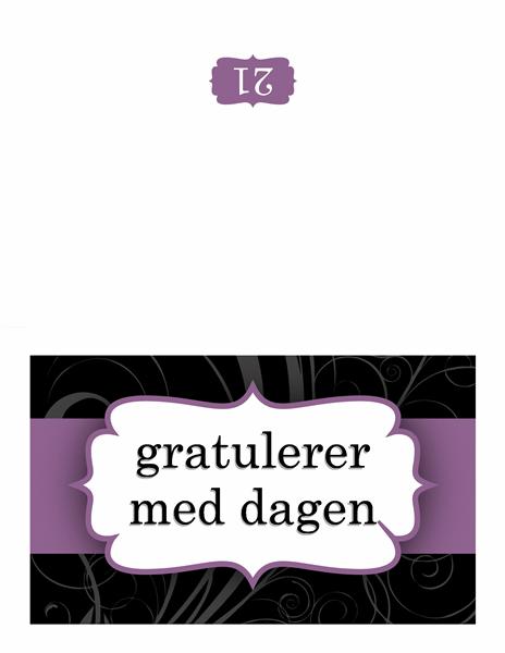 Bursdagskort (utforming med lilla bånd)
