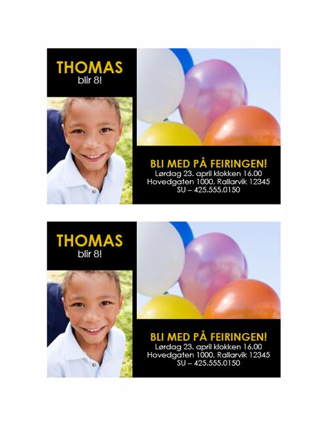 Invitasjon til fest (utforming med gult på svart og to bilder)