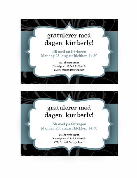Invitasjon til fest (utforming med blått bånd)