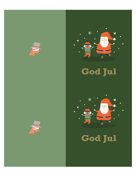 Julekort (design med julemotiv, 2 per side, for Avery-papir)
