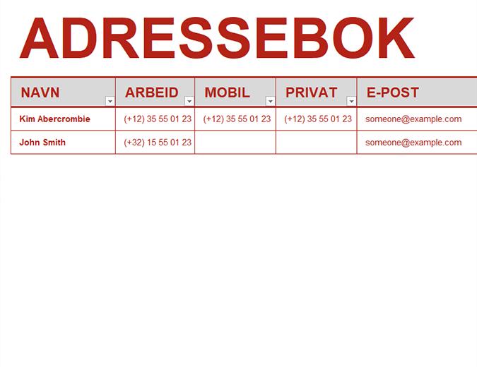 Personlig adressebok