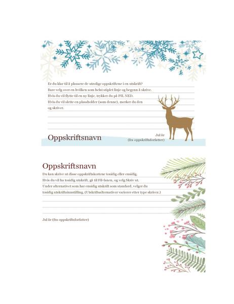 Oppskriftskort (design med julemotiv, fungerer med Avery 5889, 2 per side)