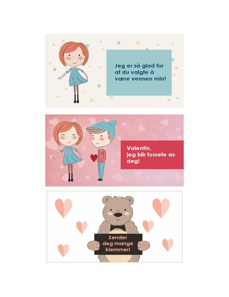 Valentinsdagskort for barn (12 utforminger, 3 per side)