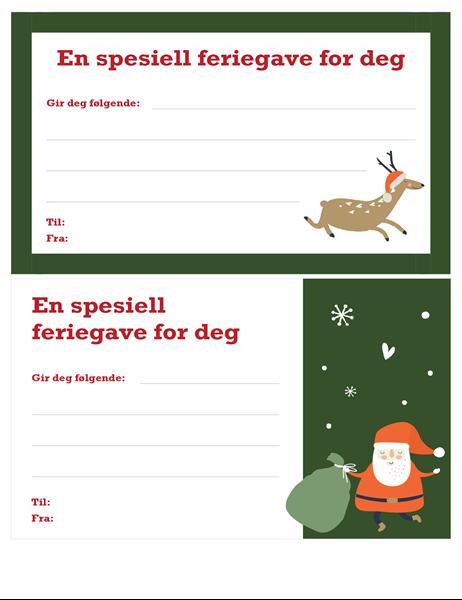 Julegavekort (design med julemotiv)