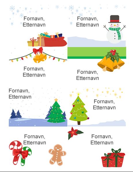 Navneskilt med julemotiv (8 per side, julemotiv, fungerer med Avery 5395 og lignende)