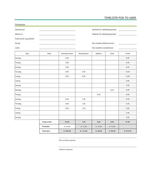 Timeliste for to uker med sykefravær og ferie (med eksempeldata)
