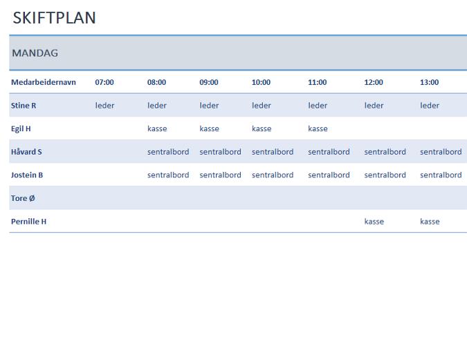 Tidsplan for ukentlig medarbeiderskift