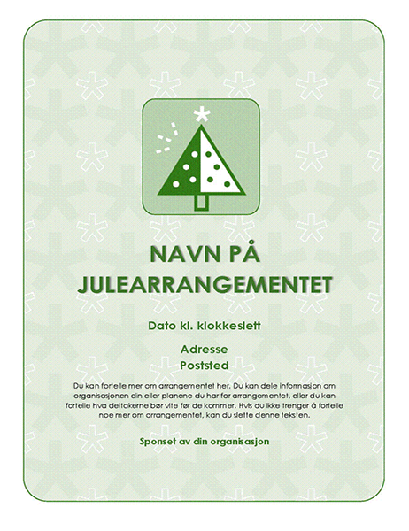 Flygeblad for julearrangement (med grønt tre)
