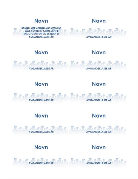 Navnekort for avgangsstudent (10 per side)