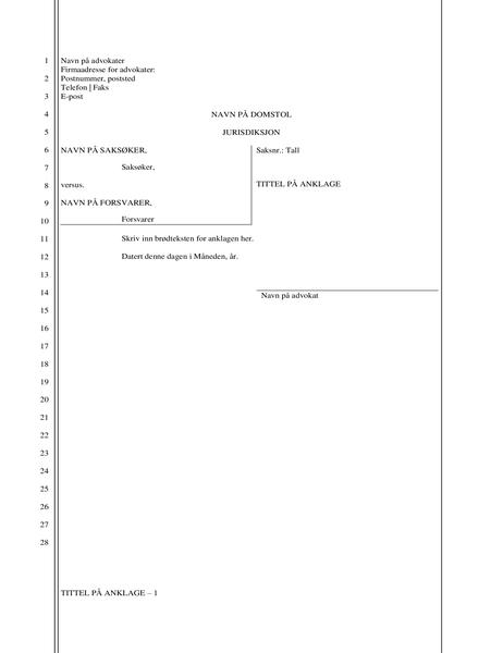 Dokument for juridisk anklage (28 linjer)