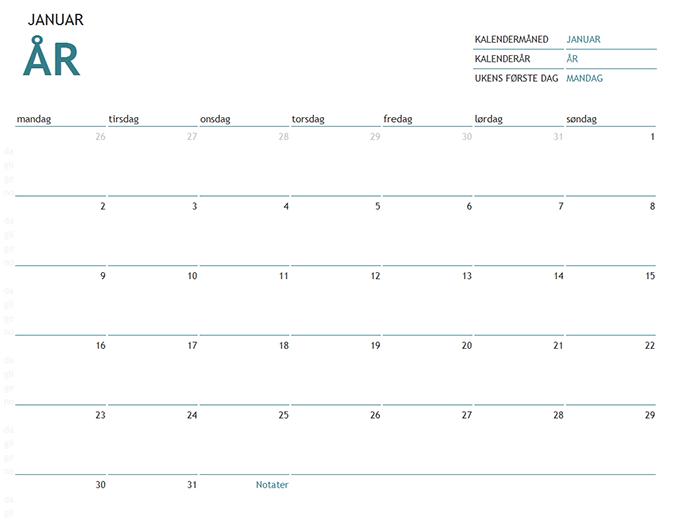 Kalender med notater for én måned i et hvilket som helst år