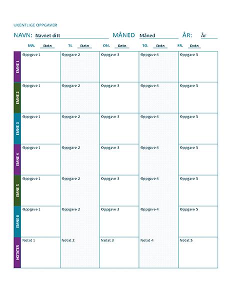 Ark for ukentlige oppgaver (farge)