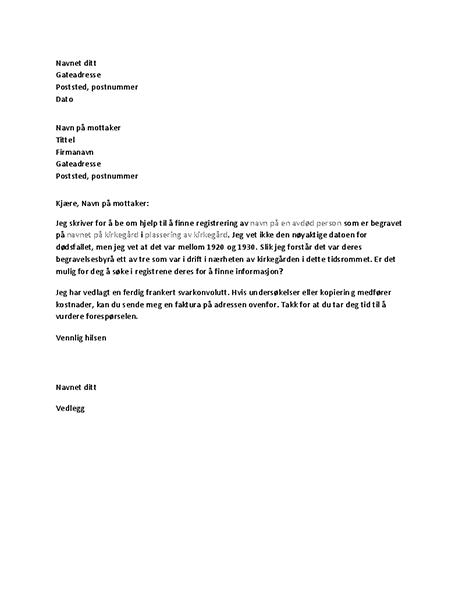 Brev med forespørsel til begravelsesbyrå om registre for slektsforskning