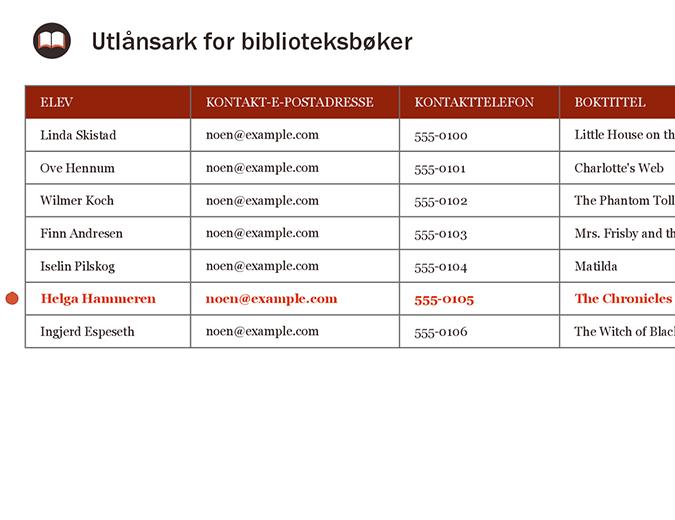 Utlånsark for biblioteksbøker