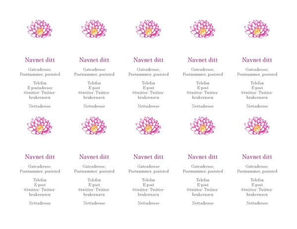 Personlige visittkort med blomster (loddrett)