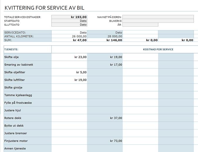 Kvittering for service av bil