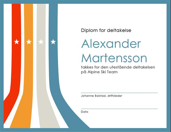 Diplom for deltakelse
