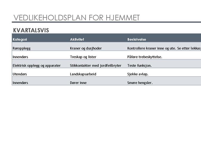 Tidsplan og oppgaveliste for vedlikehold i hjemmet