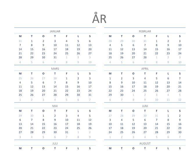 Kalender for hvilket som helst år (ma–sø)