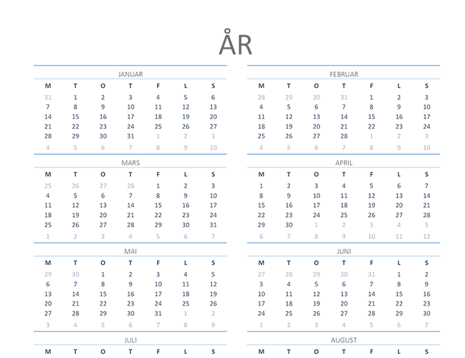 Kalender for hvilket som helst år (man–søn)