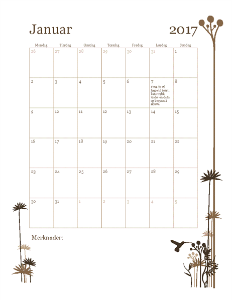 Fotokalender for 2017 (ma.–sø.)