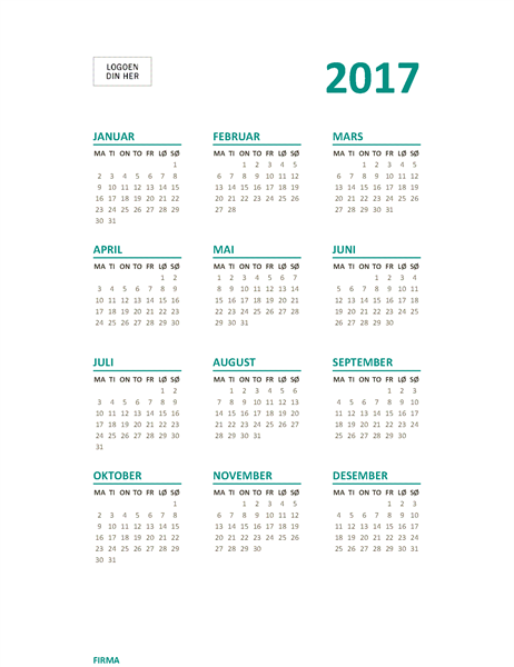 Énsiders årskalender for 2017 (man-søn)