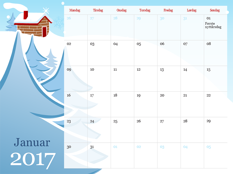 Illustrert årstidskalender for 2017 (man-søn)
