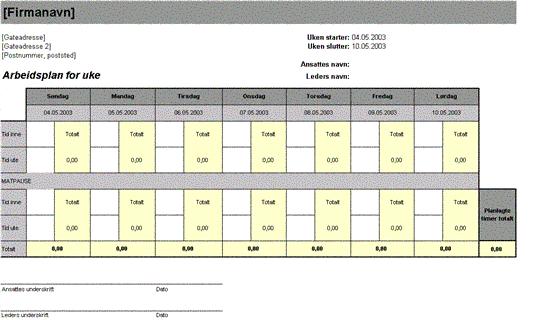 Arbeidsplan for uke
