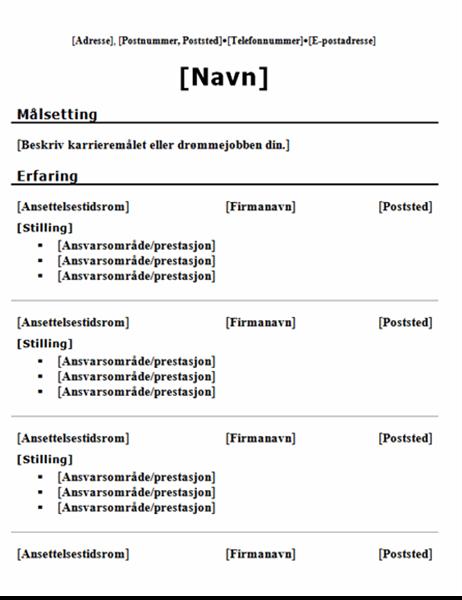 Kronologisk CV (tradisjonell utforming)