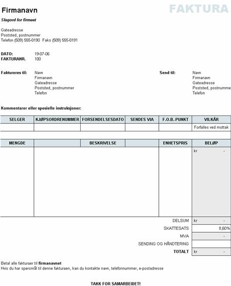 Salgsfaktura med leverings- og administrasjonsberegninger