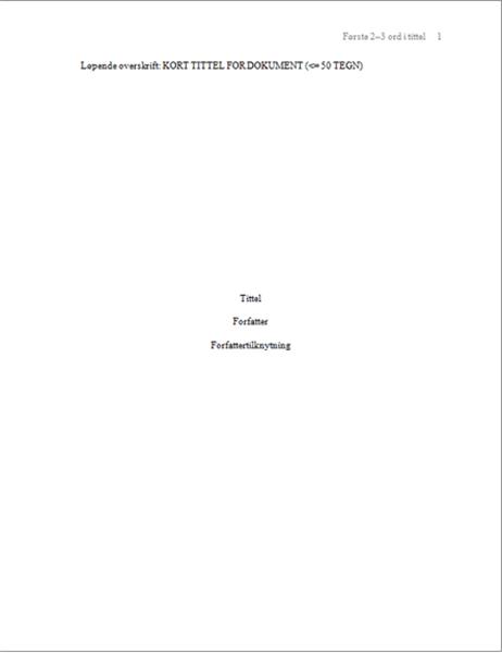 APA-papirformat
