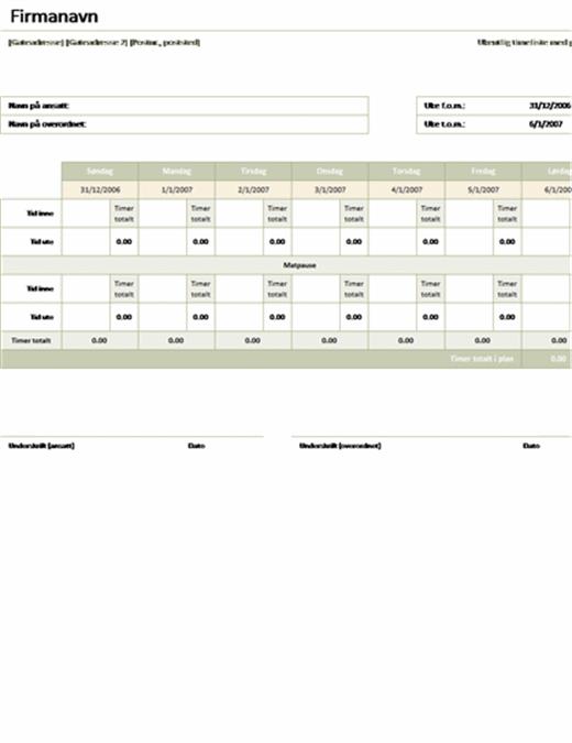 Ukentlig timeliste med pauser