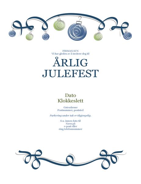 Flygeblad for vinterfest med ornamenter og blått bånd (formell utforming)