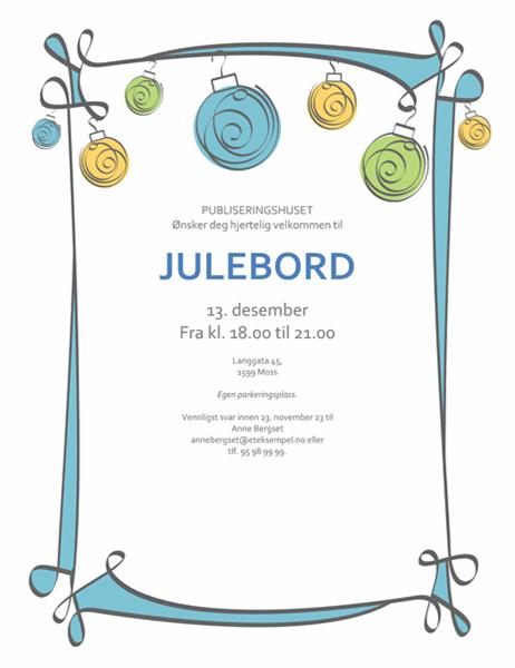 Invitasjon til høytidsfest, med blått, gult og grønt ornament (uformell utforming)