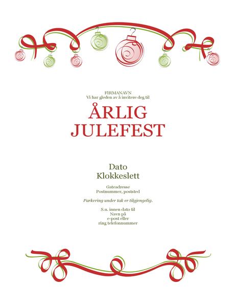 Invitasjon til høytidsfest, med rødt og grønt ornament (formell utforming)