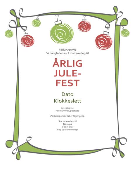 Invitasjon til høytidsfest, med rødt og grønt ornament (uformell utforming)