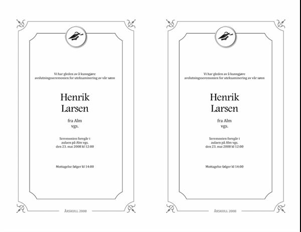 Kunngjøring av eksamensseremoni (formell utforming, svart-hvitt)