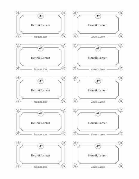 Eksamensnavnekort (formell utforming, svart-hvitt)