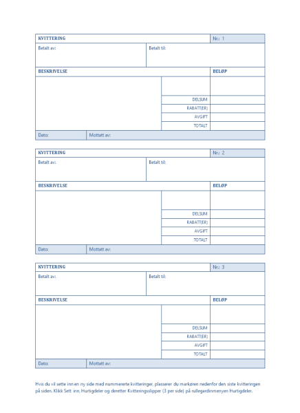 Kvittering med automatisk nummerering (3 per side)