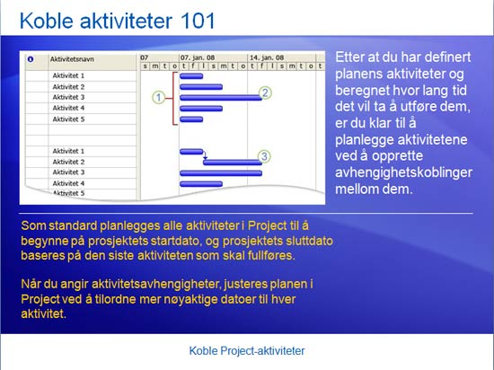 Opplæringspresentasjon: Project 2007 – Koble Project-aktiviteter
