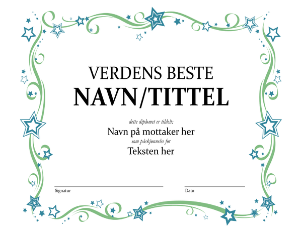 Diplom for Verdens beste