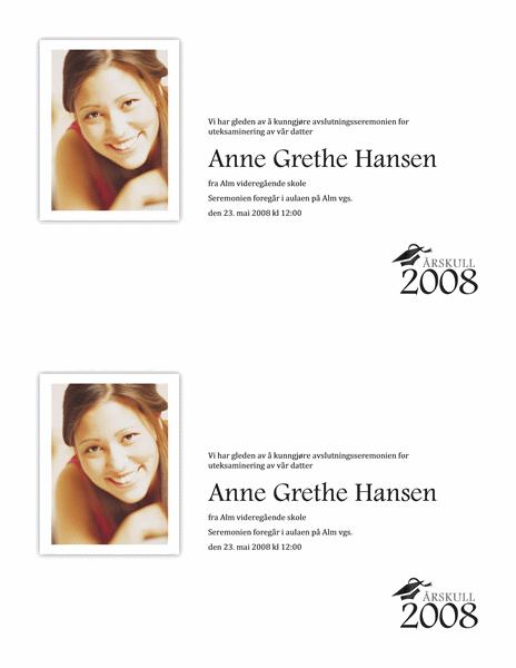 Kunngjøring av eksamensseremoni med bilde (halvside)