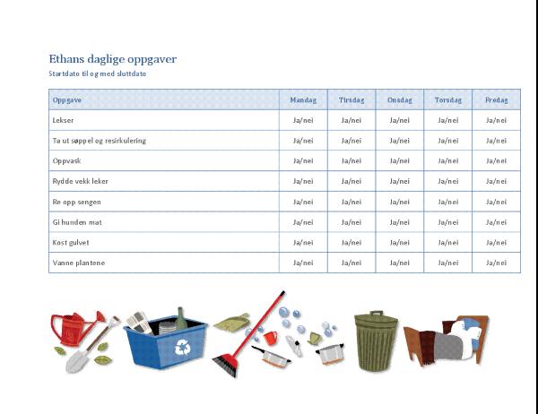 Sjekkliste for barnets oppgaver
