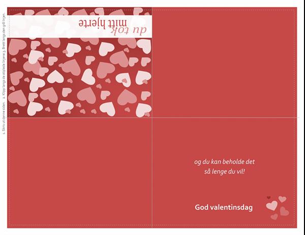 Valentindagskort (kvartfoldet)