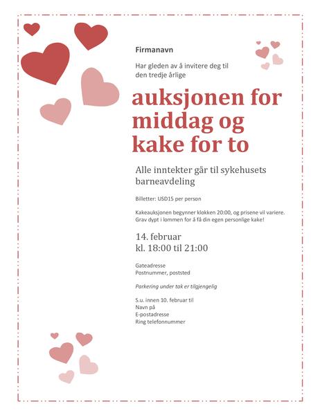 Invitasjon til auksjon på kake for to på valentinsdagen