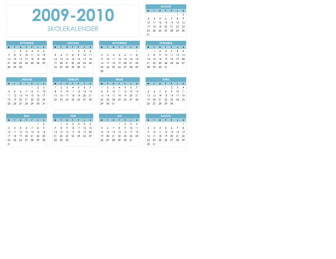 Akademisk kalender for 2009–2010 (1 side, liggende, mandag til søndag)