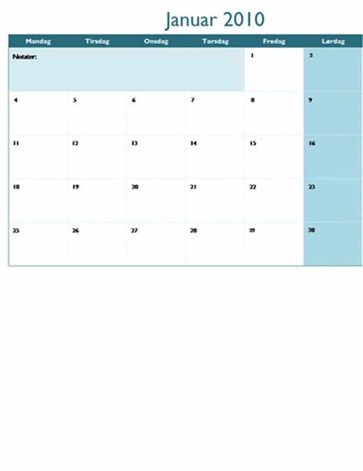 2010-kalender på flere regneark (12 sider, mandag til søndag)