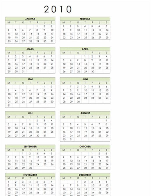2010-kalender (1 side, stående, mandag til søndag)